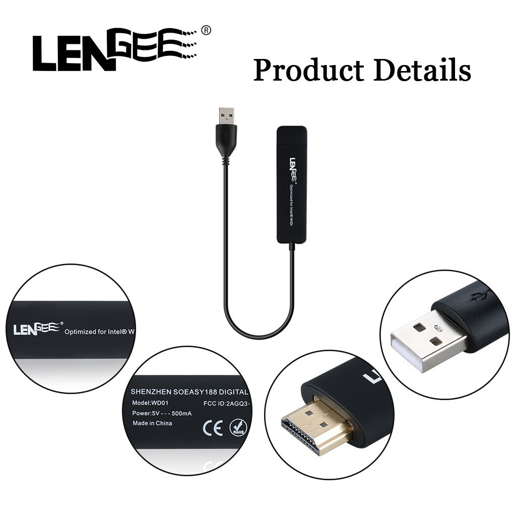 Lengee WD01 Intel WiDi Display Dongle HDMI Streaming Media Player Dual Screen Interaction