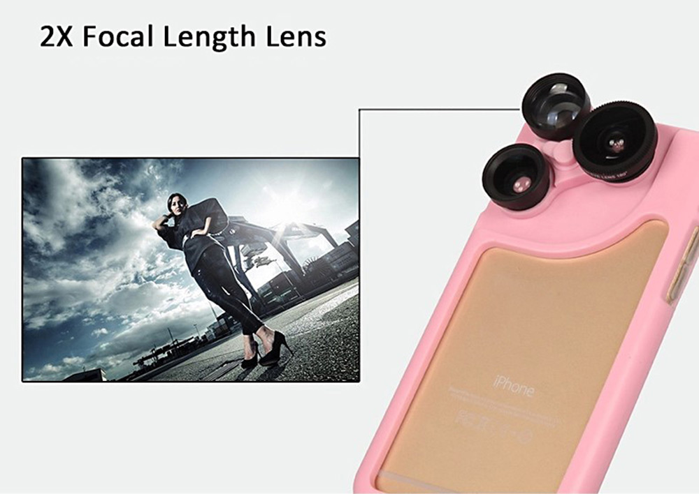 4 in 1 Phone Protective Case Lens Kit for iPhone 6 Plus / 6S Plus with Fisheye Lens Wide Angle Lens Macro Lens
