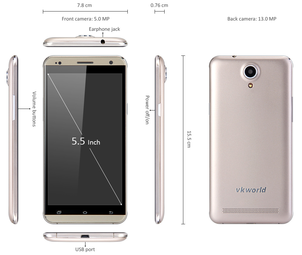 VKworld VK700 Pro 5.5 inch Android 5.1 3G Phablet MTK6580 Quad Core 1.3GHz 5.0MP + 13.0MP Cameras 8GB ROM WiFi GPS