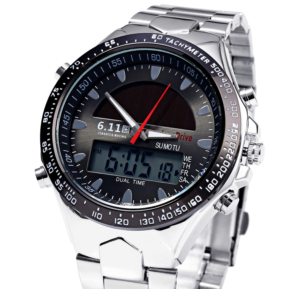 6.11 1272 Solar Power LED Watch with Stainless Steel Band
