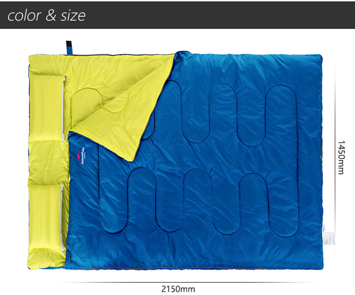 NatureHike 2-Person Sleeping Bag with Pillow for Outdoor Camping