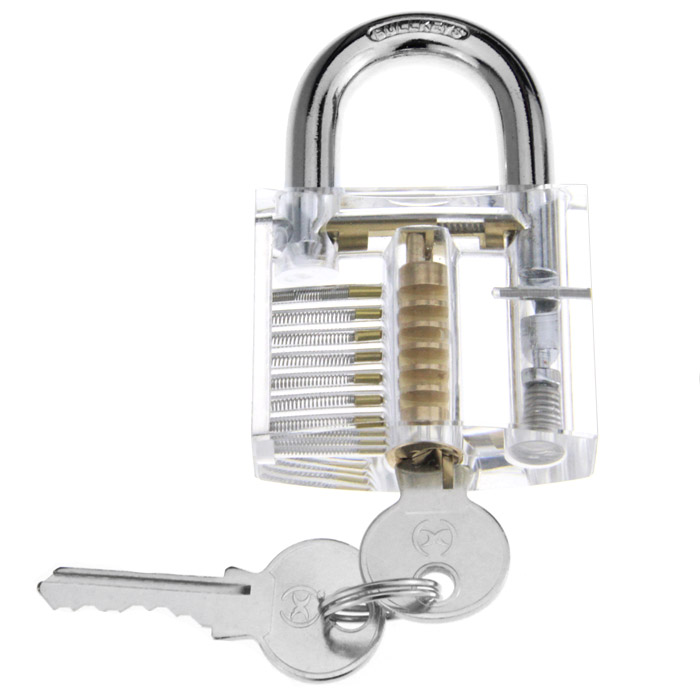 Large Style Transparent Inner Visual Lock Practice with Clamp / Key