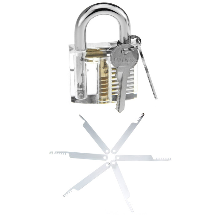 Large Transparent Inner Visual Padlock Practice with Comb Style Lock Pick / Key