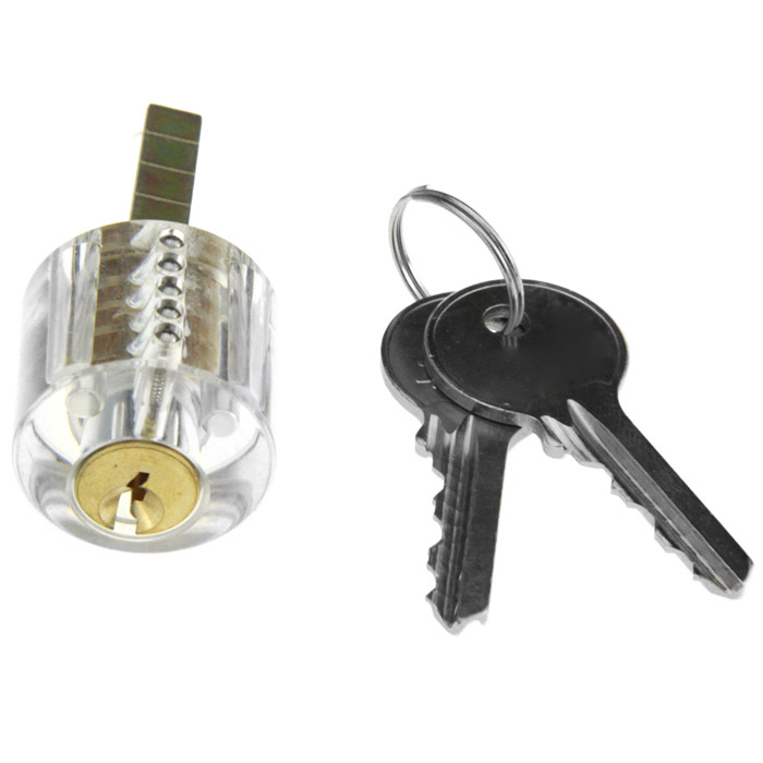 Transparent Slot Lock Practice Tool with 5 Unlocking Pick / 2 Key