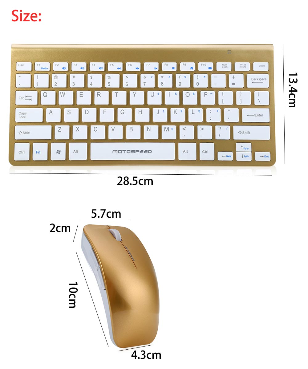 Motospeed G9800 2.4G 1200DPI Wireless Keyboard and Optical Mouse Combo for Desktop PC