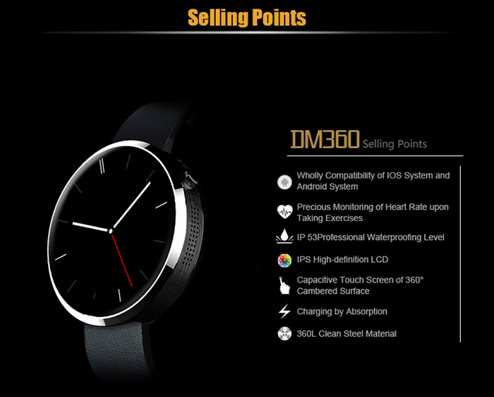 LEMFO DM360 Smart Watch with Heart Rate Monitor Gesture Control Pedometer Function