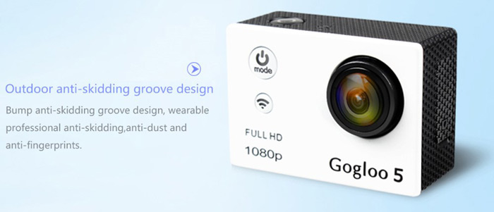Gogloo 5 1080P Full HD 173 Degree Wide Angle WiFi Action Sports Camera with 2.0 inch LCD Screen 30m Water Resistance
