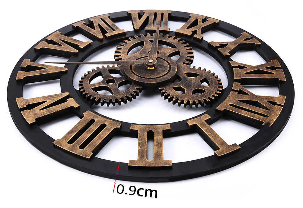 17.7 Inch 3D Large Retro Decorative Wall Clock Big Art Gear Design