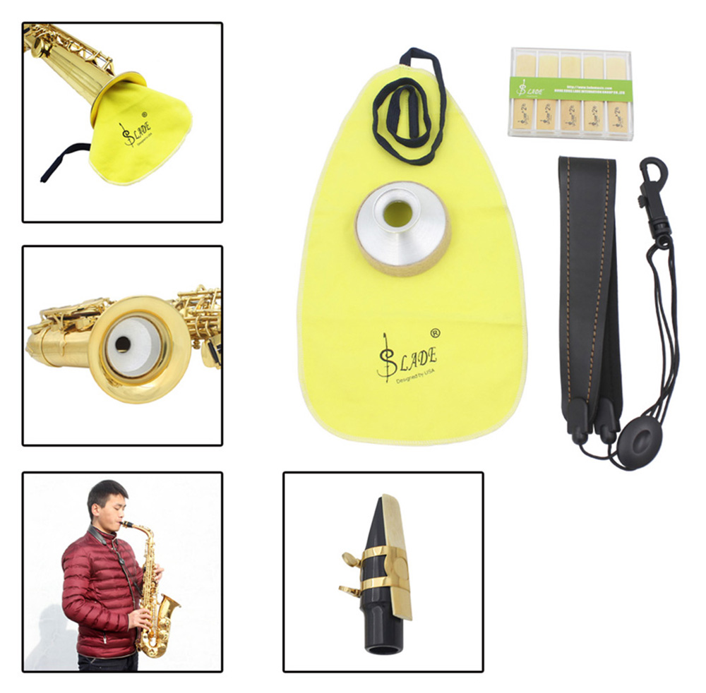 LADE 4 in 1 Alto Saxophone Sax Belt Cleaning Cloth Reed Aluminum Mute Accessory Kit