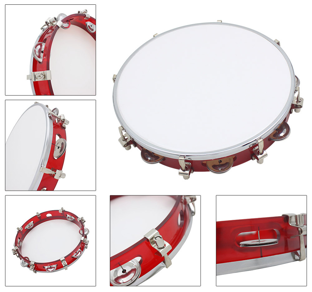 Hand Held Tambourine Drum Bell High Quality Instrument Toy Gift for Kids