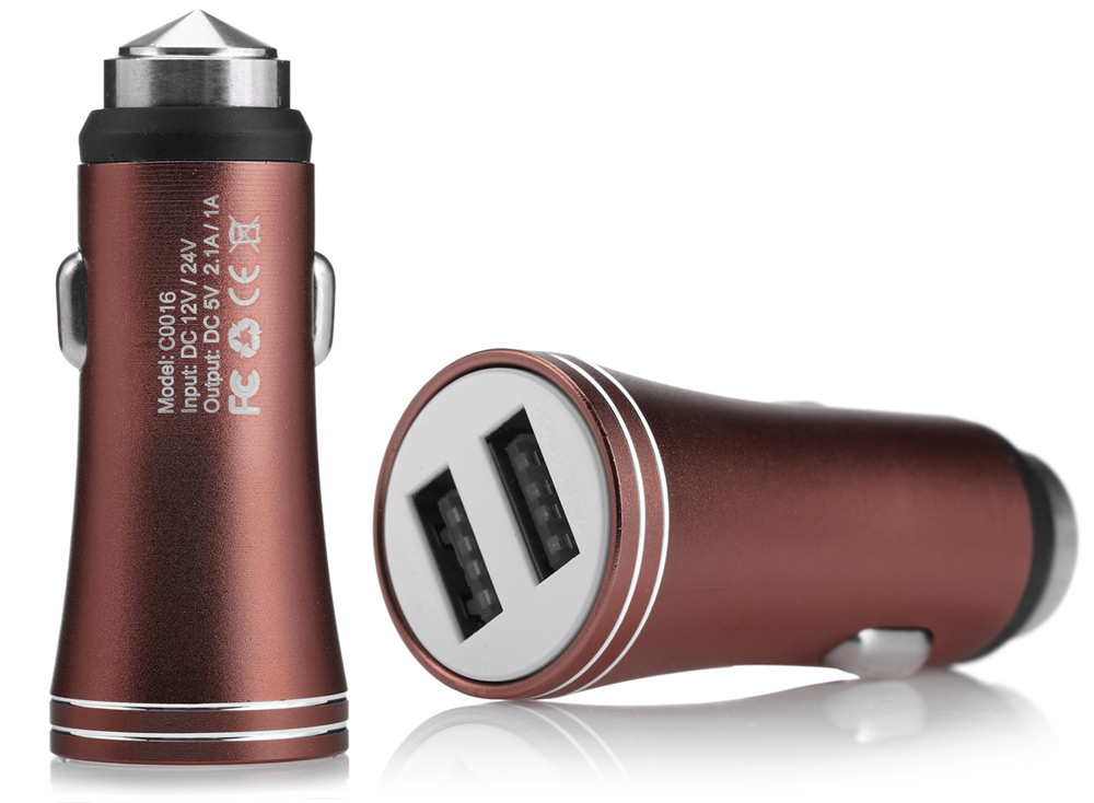C0016 Practical Car Charger Adapter Emergency Hammer Dual Outputs Aluminum Shell 12V / 24V Input