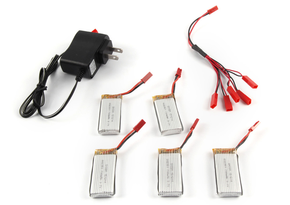 Battery Charging Set 5 x 3.7V 700mAh Lipo + Charger / JST Cable for RC Quadcopter