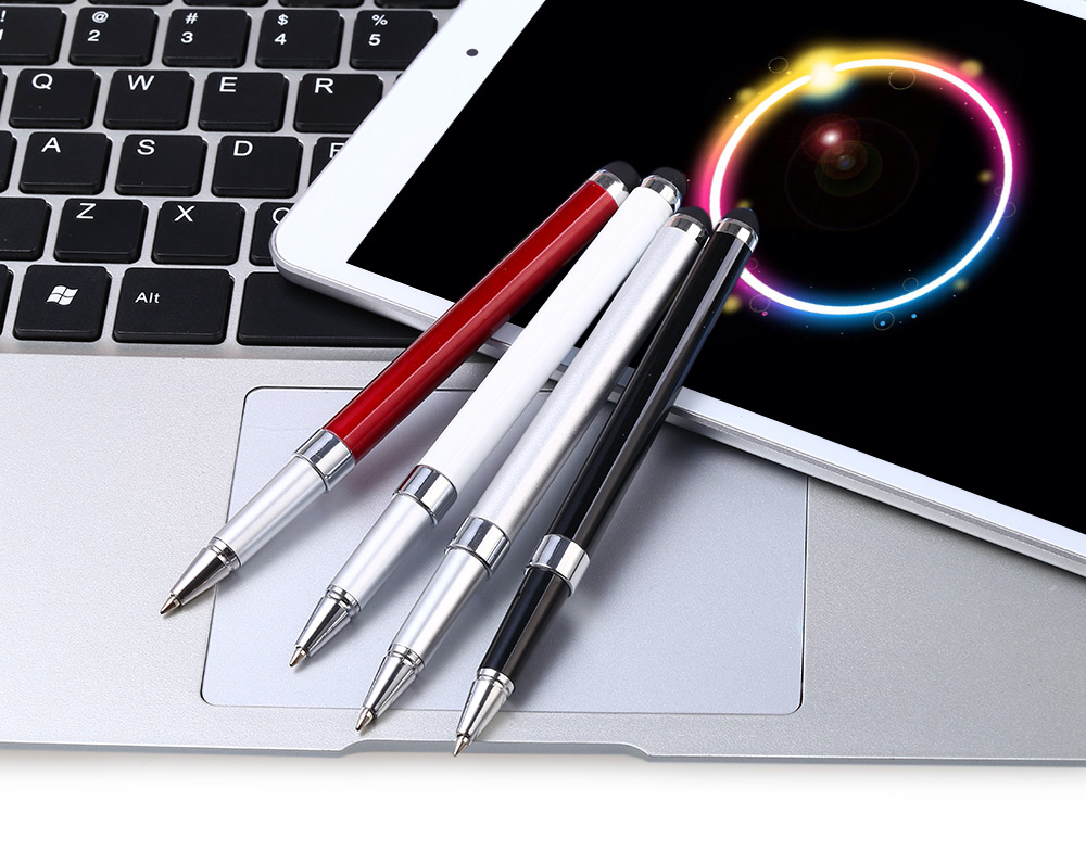 2 in 1 Mini Capacitive Touch Pen Stylus Screen Built-in Ball-point for Meeting