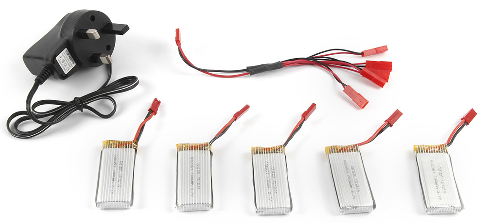 Battery Charging Set 5 x 3.7V 700mAh Lipo + Charger / JST Cable Fitting for Quadcopter