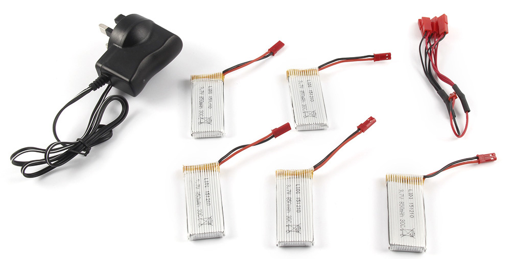 Battery Charging Set 5 x 3.7V 850mAh Lipo + Charger / JST Cable Fitting for Quadcopter