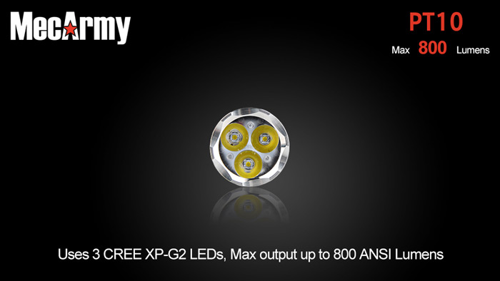 MecArmy PT10 3 x Cree XP - G2 800Lm 10440 Rechargeable LED Flashlight