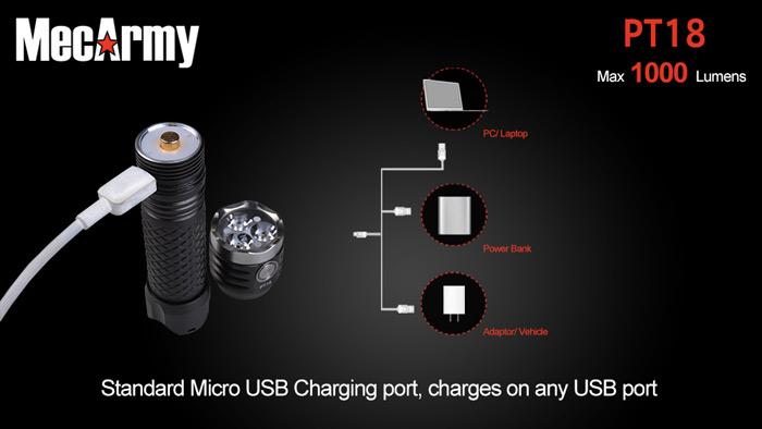 MecArmy PT18 3 x CREE XP - G2 1000LM 18650 Rechargeable LED Flashlight
