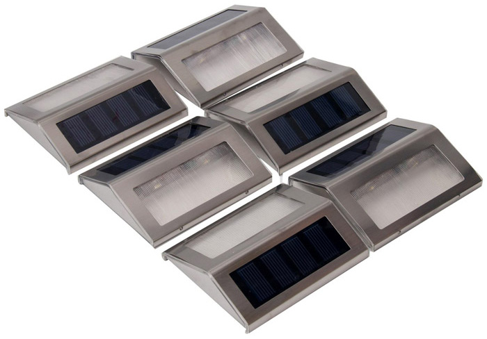 6PCS Solar Powered Stairways Path Lamp Wireless Staircase Step Stair Light