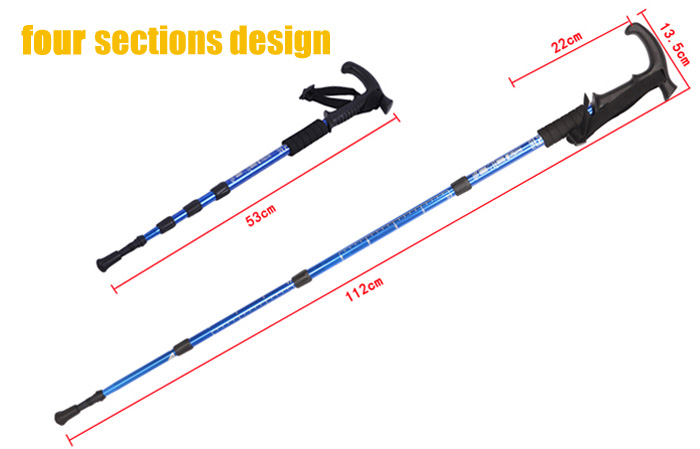 AOTU Four Sections T-shaped Handle Alpenstock with Carbon Tungsten Steel Rod Tip