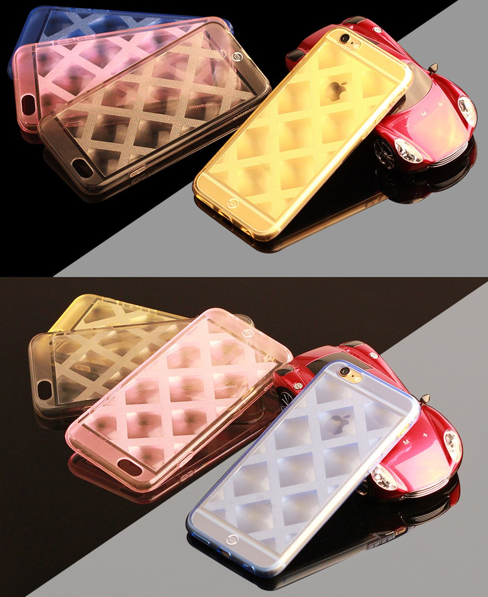 Moshuo Transparent Protective Case for iPhone 6 / 6S Grid Style TPU Phone Protector