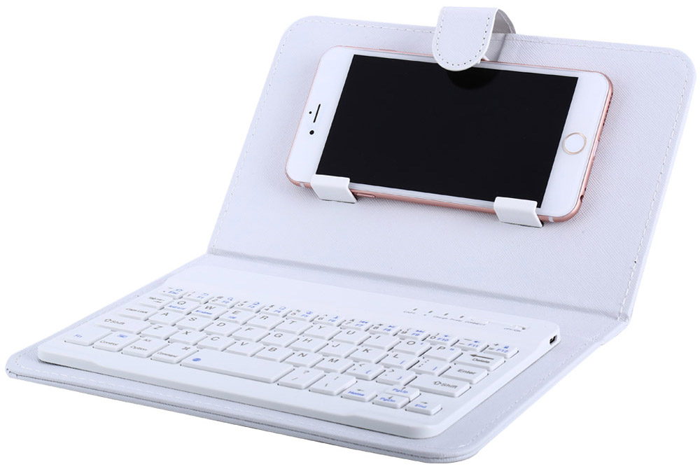 Wireless Bluetooth V3.0 Keyboard Case Leather Cover with Stand Universal for 4.5 / 6.5 inch Cell Phones
