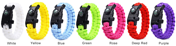 5 in 1 Outdoor Paracord Bracelet / Fire Starter / Compass / Whistle