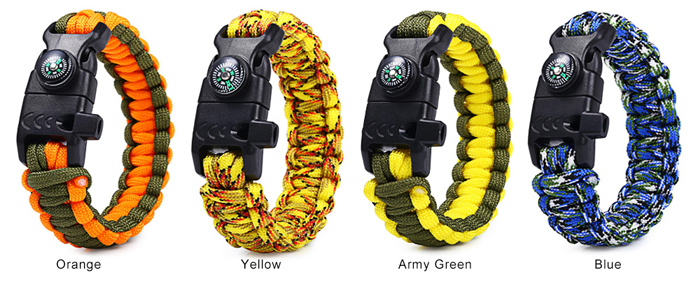 5 in 1 Outdoor Paracord Bracelet / Compass / Whistle / Fire Starter