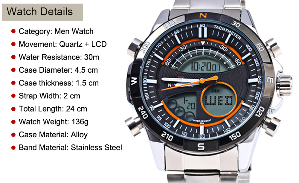 Naviforce 9031 Men Quartz Watch LED Wristwatch Stainless Steel Band Calendar