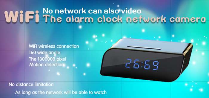 Digital Clock P2P HD 720P Camera 160 Degree Wide Angle IR Night Vision Support TF Card 32GB