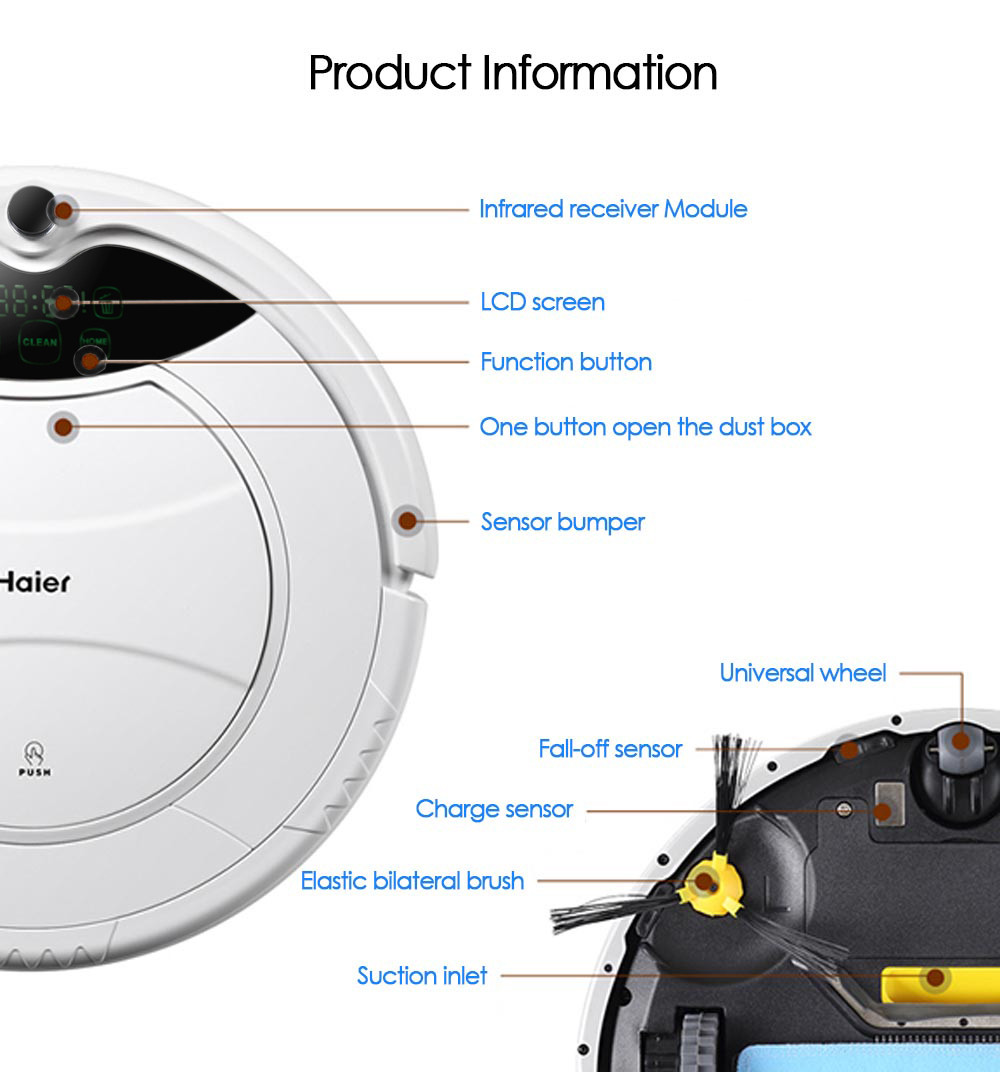 Original Haier SWR Pathfinder Vacuum Cleaner Robot Remote Control Self Charging Cleaning Devices