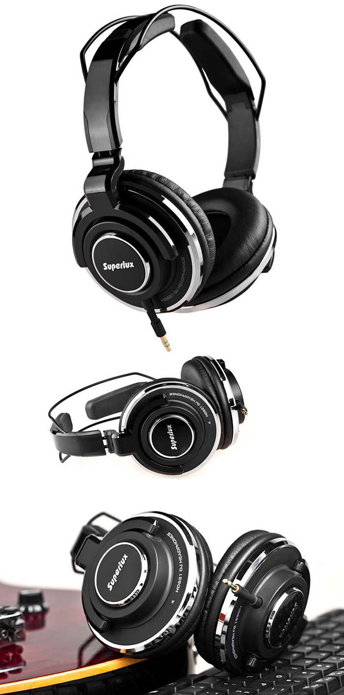 Superlux HD-631 High Sound Quality DJ Monitoring Headphones Powerful Bass Clear Sound Auto-adjustable Headband