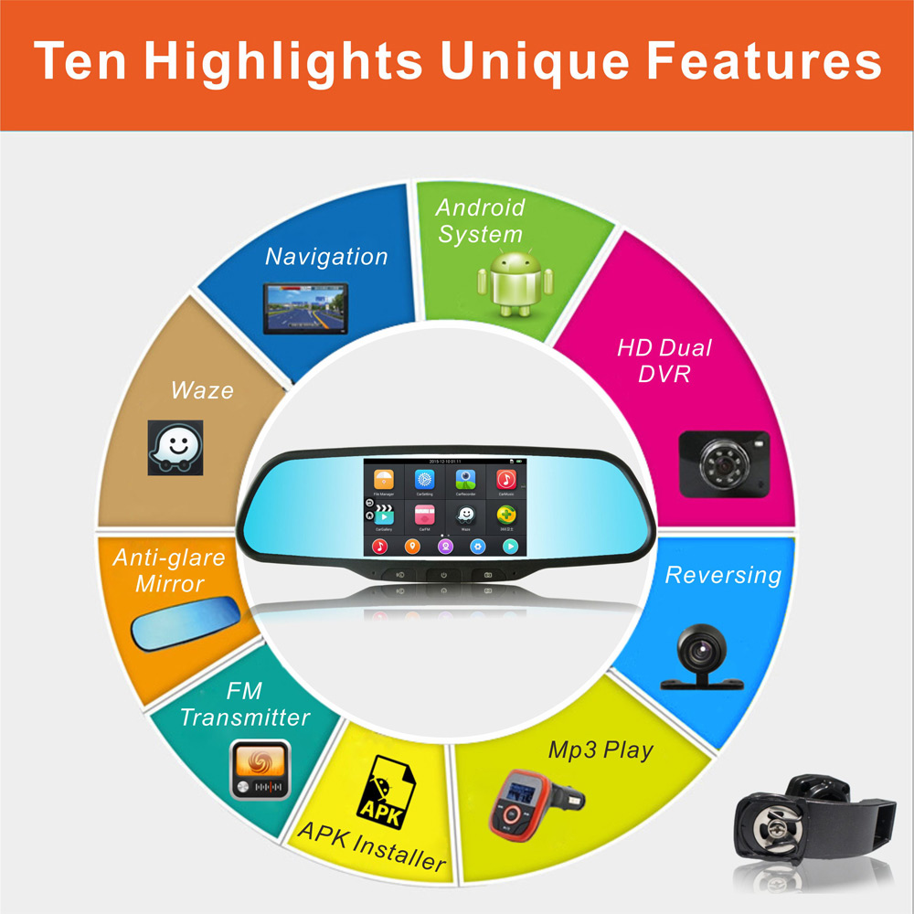RM-LZ2100 Android 4.4 WiFi 120 Degree 2MP 1080P FHD Car DVR GPS Rearview Mirror Camera Monitor Recorder 5.0 inch TFT Screen