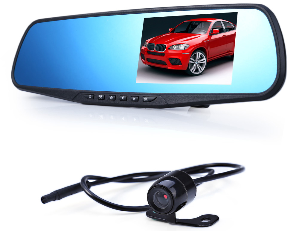 SJ-M068 720P 2.0MP 170 Degree Wide Angle Car DVR Rearview Mirror Camera with 4.3 inch LCD Screen Motion Detection Loop Cycle Recording Night Vision G-Sensor