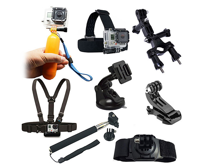 CP-GPK01 8PCS Universal Action Camera Accessory Kit / Chest Belt Head Strap Bike Handlebar Holder Suction Cup Floating Grip