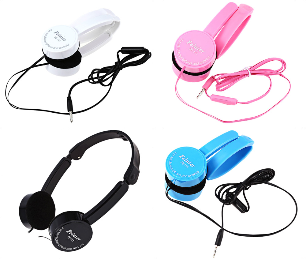 Retractable Foldable Kids Headband Earphone with Mic Stereo Bass