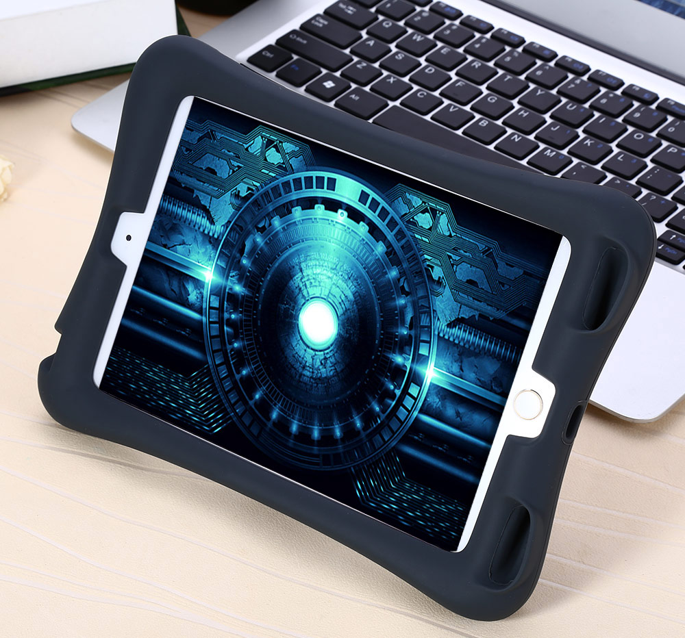 Protective Back Cover Silicone Material Case with Adjustable Stand for iPad Mini 1 2 3