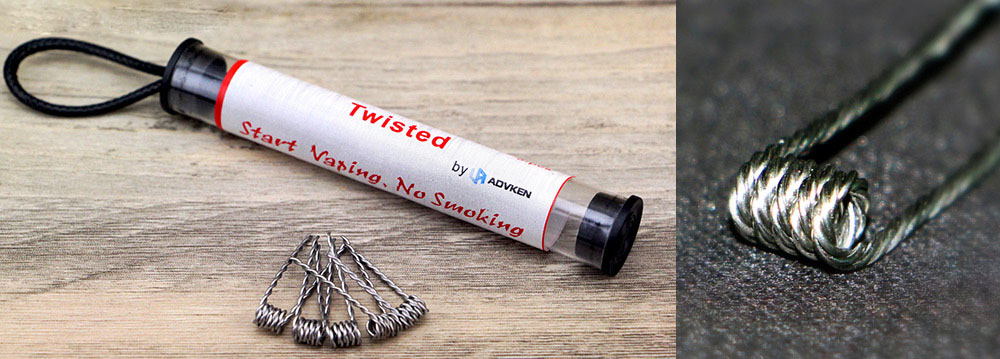 Orignal Advken Dual Twisted RBA Resistance Wire with 25pcs Coil Atomizer Heating Wire for E Cigarette