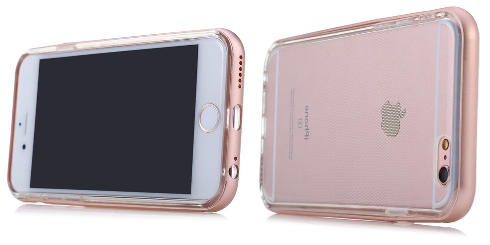 TPU Material Protective Back Cover Case for iPhone 6 / 6S Metal Frame Anti-scratch