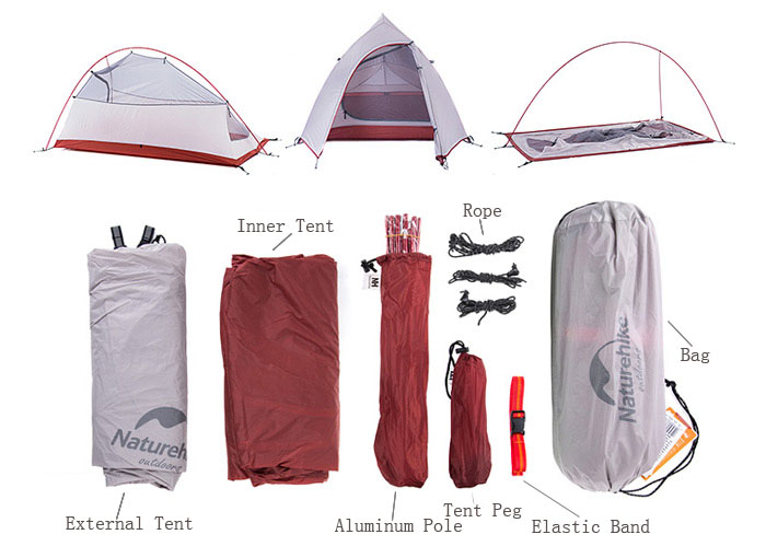Naturehike NH15T002 - T 20D 380T Silicone Double Layer Waterp Resistant Camping Hiking Tent Tool for 2 Persons