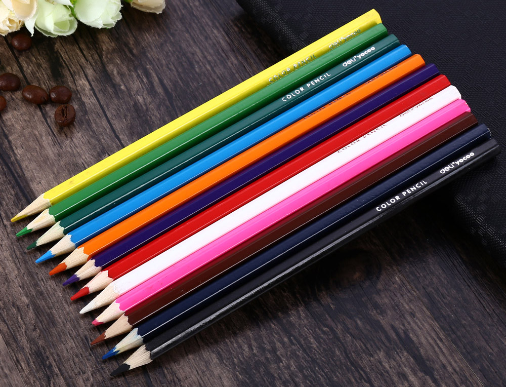 24PCS 12-color Painting Pen Student Stationery with Pencil Sharpener