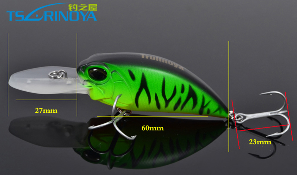 DW32 60mm Trulinoya Hard Fishing Lure Crank Artificial Baits with Hook