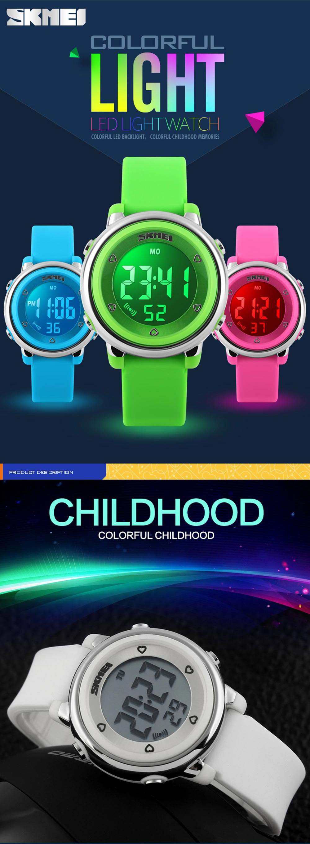 SKMEI 1100 Children LED Digital Watch Silicone Wristband Sports Watches