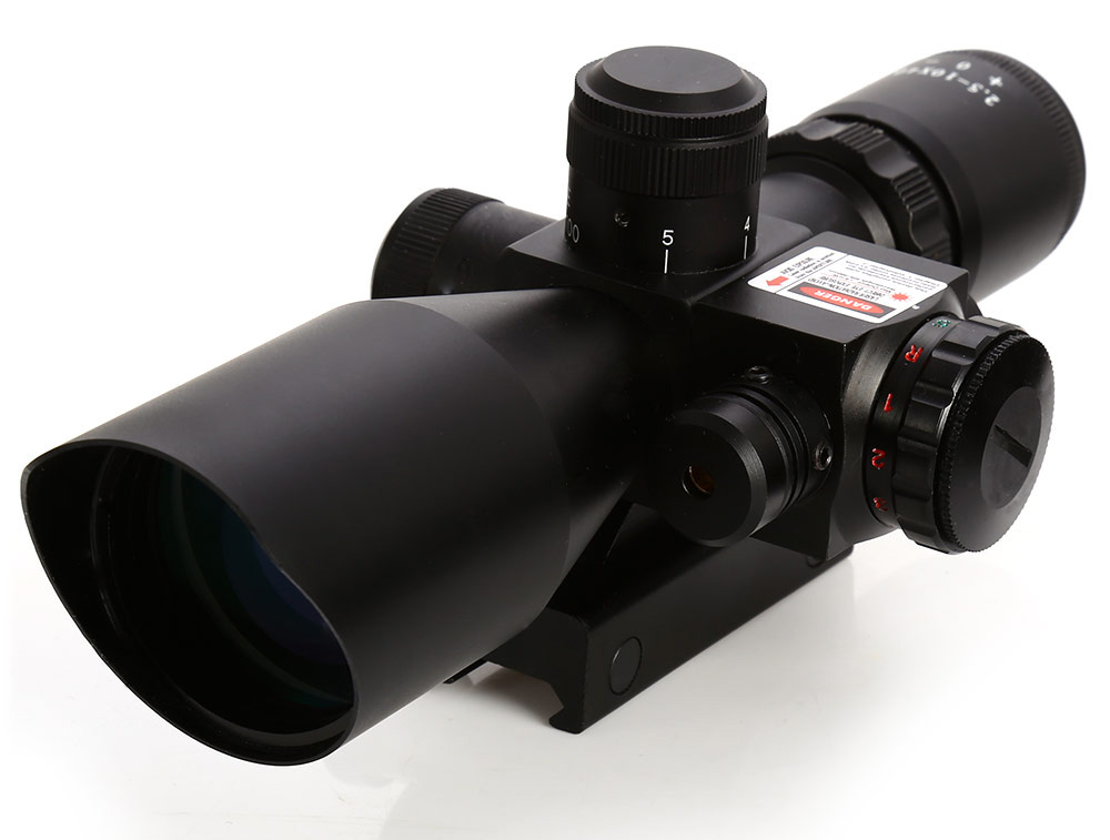 Rifle Scope Red Dot Tactical 2.5 - 10 x 40 Red Laser Dual Illuminated Mil-dot W / Rail Mount