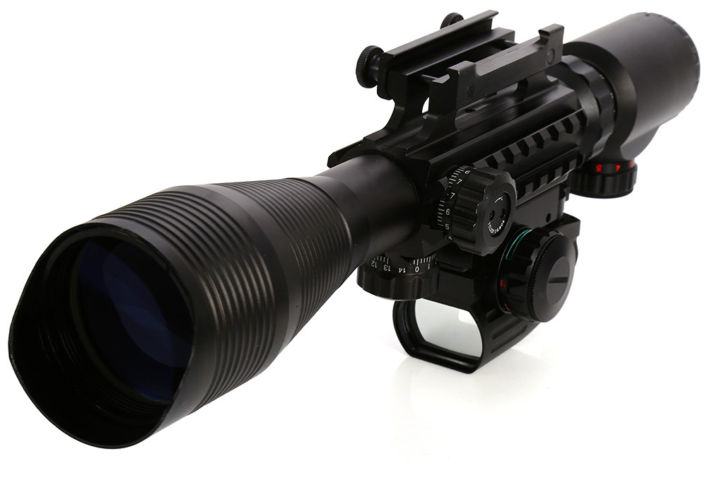 3 In 1 Combo 4 - 12 x 50EG Optical Rifle Scope Mil-dot Dual Illuminated Side Rail and Mount