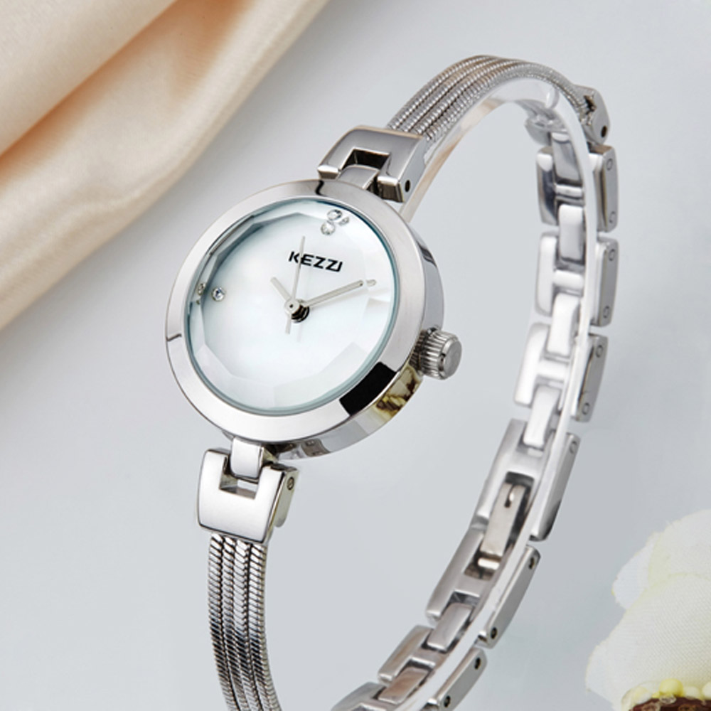 KEZZI KW-1088 Japan Quartz Round Dial Shell Face Female Watch Alloy Band