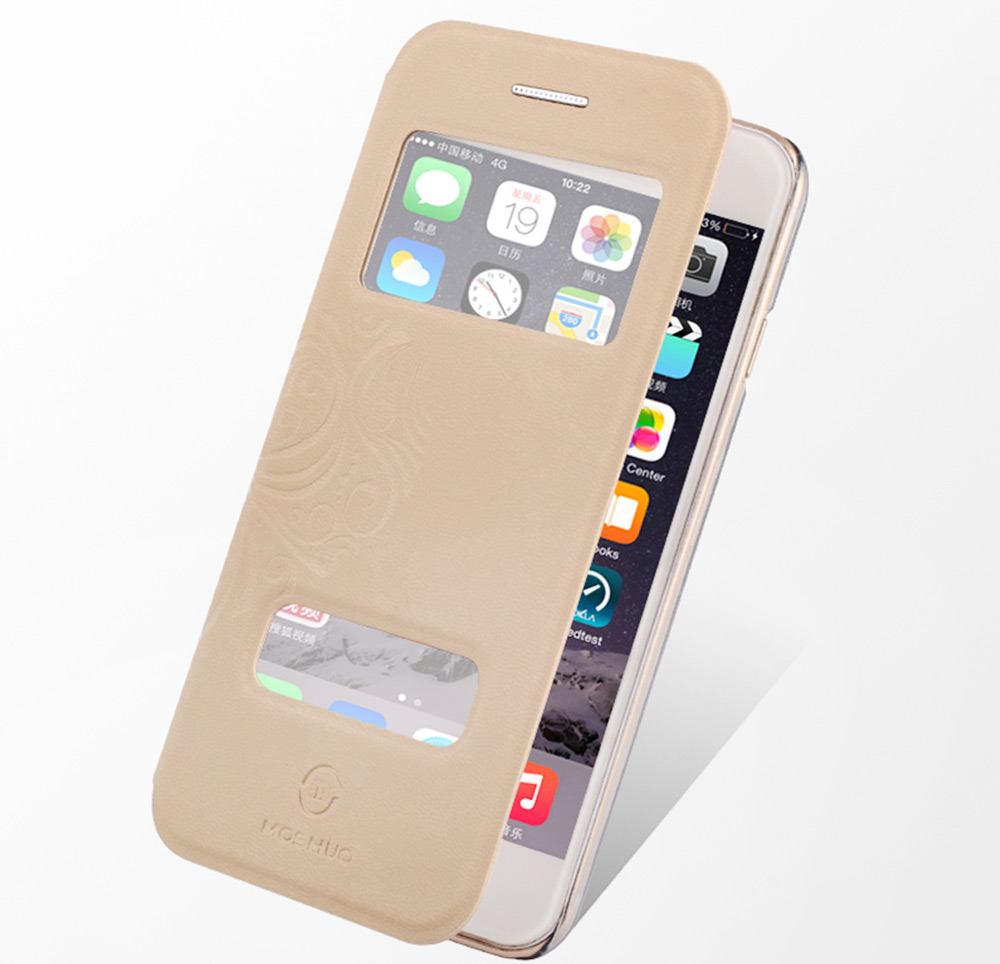 Moshuo PU Leather Full Cover Protective Case for iPhone 6 Plus / 6S Plus Matte Style Phone Protector with View Window