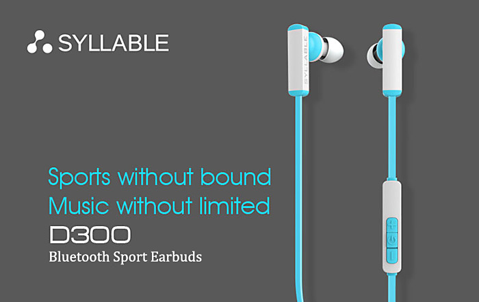 Syllable D300 Bluetooth Sport Earbuds with Mic Volume Control