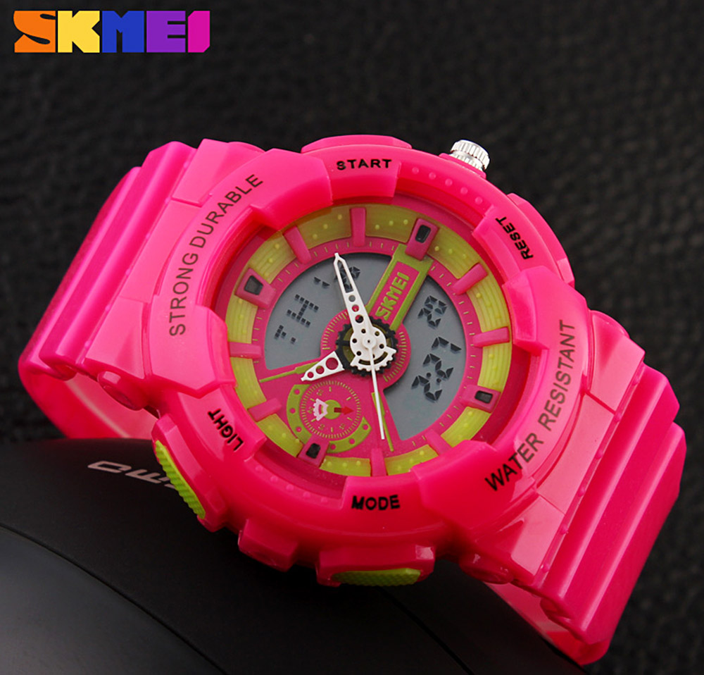 Skmei 1052 Water Resistant Digital Analog Sports Watch Candy Color Children Wristwatch