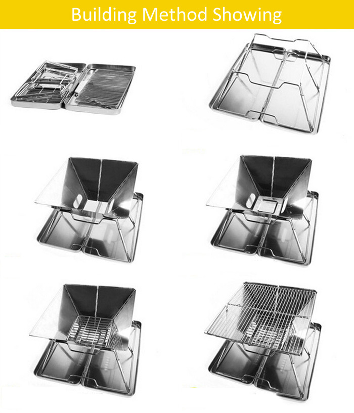 AOTU Folding Barbecue Grill 430 Stainless Steel Made