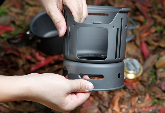 ALOCS Camping Cookware Pot with Windproof System